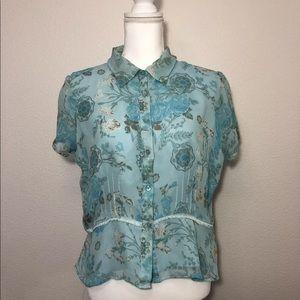 Worthington Silk Blue Floral Blouse Size 14